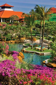Pretty gardens surround the resort at Grand Hyatt Bali