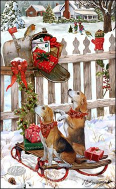 "Beagle Christmas Cards are 8 1/2"" x 5 1/2"" and come in packages of 12 cards. One design per package. All designs include envelopes, your personal message, and choice of greeting. Select your greeting from the drop-down menu above.Add your personal message to the Comments box during checkout."