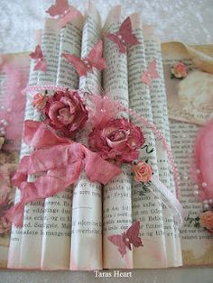 Flowers, ribbons and butterflies decoration on the book. (whole book with center pages decorated