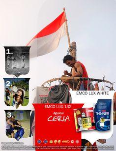 Kawan EMCO, setiap orang sangat bahagia saat mengikuti lomba-lomba untuk memperingati hari kemerdekaan Indonesia. Hadirkan kegembiraan perayaan kemerdekaan dalam warna EMCO LUX 132 dan EMCO LUX WHITE pada palet warna EMCO. Untuk artikel menarik lainnya silakan cek saja di http://matarampaint.com/news.php.