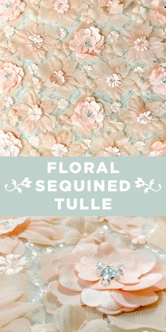 Light Peach and Pale Blue Floral Appliqué and Sequined Tulle Brocade Fabric, Tulle Fabric, B And J Fabrics, 21st Party, Fashion Fabric, Women's Fashion, Kinds Of Fabric, Fabric Names, Light Peach