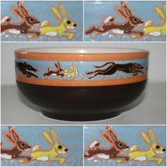 """Italian Greyhound ceramic bowl. """"IGs & rabbits I"""" by Malens Ceramics. Dogs art."""