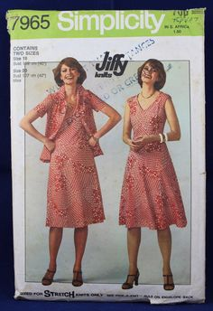 Vintage Sewing Pattern for a Dress and Jacket in Size 18-20 - Simplicity 7965 by TheVintageSewingB on Etsy