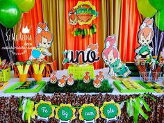 Pebbles Flintstones birthday party! See more party planning ideas at CatchMyParty.com!