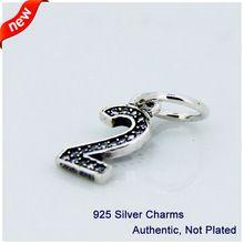Se adapta a los encantos de Pandora pulsera DIY perlas número 2 cuelgan el con claro cúbicos circonia auténtica plata de ley 925 joyas venta al por mayor(China (Mainland))