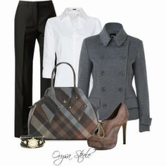 White shirt, black pants, grey jacket, handbag and high heels for fall.  Minus those particular heels...