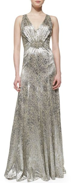 David Meister Sleeveless Sequin Brooch-Waist Gown | another incredible deal on this dress today if you like silver, take a look.