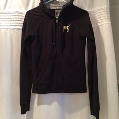 VS zip up Gold and glittery. Size small from PINK Victoria's Secret Tops Sweatshirts & Hoodies
