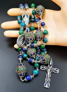 Stress Anxiety Depression    Calming Gemstone    Chrysocola Lapis Turquoise Rosary
