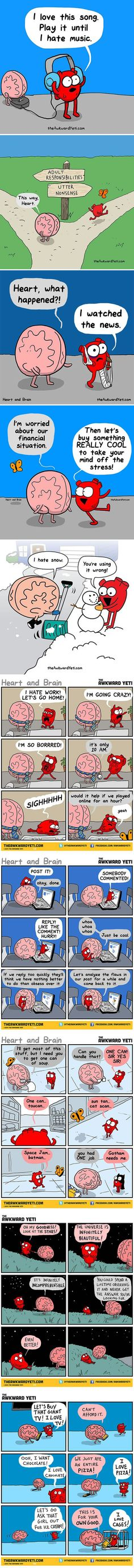 Heart Vs. Brain (By Awkward Yeti) This makes me so happy!