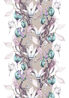 Haltiatar (beige) - By Saara Kurkela Vallila Interior Finland Large Flowers, Beautiful Patterns, Textiles, Beige, Curtains, Drawings, Interior, Inspiration, Bomull