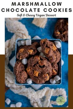 Vegan marshmallow chocolate cookies are deliciously soft and chewy with gooey centers that will melt in your mouth. It's made with vegetarian mini marshmallows in just 30 minutes! #vegan #marshmallow #cookies #chocolate #holidays #baking #easy #minimarshmallows #christmascookies #cocoa #chocolatechips #vegetarianmarshmallows