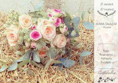 12 meses 12 ramos: Septiembre. María Salazar. Ramo con rosa, rosa spray, astrantia y eucalipto