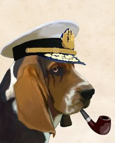 Sea Dog Basset Hound 14x11 Art Poster Original by LoopyLolly, $36.00
