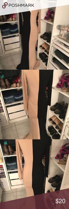 Color block dress Beige/black evening dress Dresses Long Sleeve