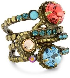 "Fancy - Sorrelli ""Tropical"" Stacked Circular Crystal Adjustable Gold"