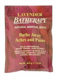 Queen Helene - Lavender 1.5 oz each - Batherapy Products by Queen Helene. $1.18. Batherapy Mineral Bath Salts is the original product manufactured by Queen Helene and has been passed on for generations. UPC: 079896221653  Front Label Panel: Lavender Batherapy Natural Mineral Bath Bathe Away Aches And Pains Relax Tired Muscles... Reduce Tension...Sleep Soundly Changes Ordinary Tub Water Into A Refreshing, Satisfying, Lavender Scented, Spa-Like Bath Net Wt. 42.4 G E 1.5 Oz. Instruc...