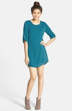 EVERLY+Roll+Tab+Sleeve+Shift+Dress+(Juniors)+available+at+#Nordstrom