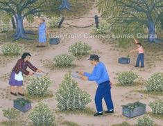 Carmen Lomas Garza  Abuelitos Piscando Nopalitos   - (grandparents harvesting cactus), 1980, gouache on cotton paper, 11 x 14 inches.