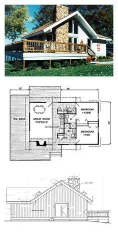 Lakefront Style COOL House Plan ID: chp-2197 | Total Living Area: 788 sq. ft., 2 bedrooms  2 bathrooms. #houseplan #lakefrontplan