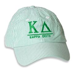 Kappa Delta Seersucker Baseball Hat from Sassy Sorority, Sorority Sister Products and Gifts