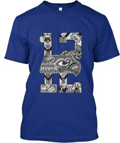 12th Man Doodle Shirt for sale $20!!  Seahawks, Doodle, Zentangle, T-shirts, Hawks, 12th Man, Tribal, Russel Wilson, LOB, Marshawn Lynch, Richard Sherman, Blue, Green, Skittles, Super Bowl, Champions, Go Hawks