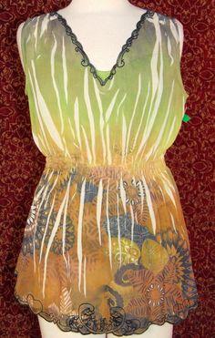 NWT PETER NYGARD green artsy floral sheer sleeveless blouse w/cami 8 (T42-07A6G) #PeterNygard #Blouse #Casual