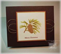 Gold Embossed Pine Cone Card