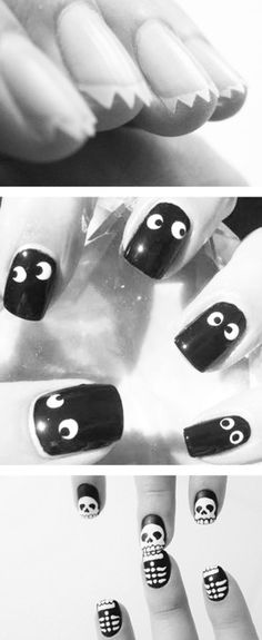 monster mash - black and white nail art
