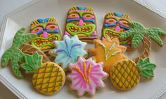LUAU PARTY - Tiki  DECORATED COOKIES - Luau Cookie Favors - Palm Trees - Pineapple - Decorated Cookies - 1 DOZEN