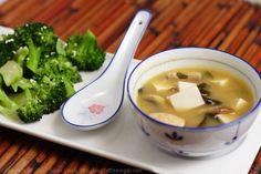 Double Mushroom Miso Soup with Sesame Broccoli