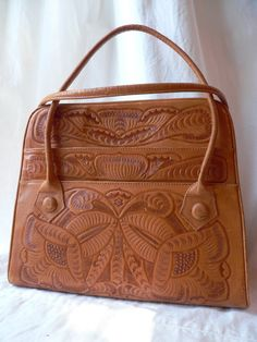 HAND TOOLED LEATHER Purse by HousewifeVintage on Etsy, $39.00