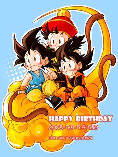 DBZ Goku, Gohan and Goten The Sky Upside Down