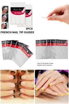[Visit to Buy] 5pcs/set DIY French Nail Art Smile Striping Line Tape Sticker Tips Guide Stencil Manicure Accessories Tools Decoration #Advertisement