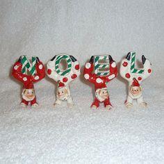 Vintage Christmas NOEL Clown Figurines Holt Howard by crazy4me
