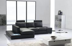 Divani Casa T35 Mini - Modern Leather Sectional Sofa with Light VGYIT35MINI-2