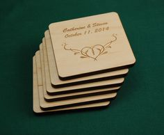 Set of 6 laser cut personalized maple wood coasters with a floral design heart and any text laser engraved with felt backing.