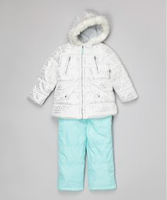 Look at this White & Mint Geometric Ski Bib & Jacket - Toddler & Girls on #zulily today!