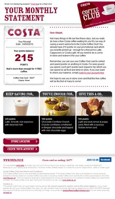 Great subject line for Costa: Your free coffee's getting cold!