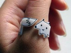 Shrinky Dink Rings. I should try making a shrinky dink ring like this. SO adorable.