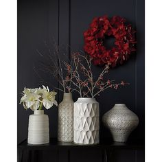 Icy Red Berry Stem Branch   Crate and Barrel - Kora medium vase and 2 red branches!