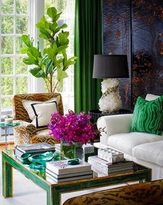 One word to describe this living room inspiration? Check out the beautiful combination of emerald green, fuschia, and animal print to get unique ideas for how to decorate your space. Living Room Interior, Living Room Furniture, Living Room Decor, Furniture Sale, Unique Furniture, Interior Design Advice, Interior Decorating, Decorating Blogs, Estilo Hollywood Regency
