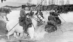 A patrol of German Hussars crossing a river near the Lake Ohrid on the Macedonian-Albanian border, Thessaloniki, Camel, German, Horses, River, Animals, Empire, Deutsch, Animales