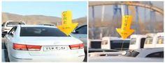 Globos de gas alertan a los conductores de plazas de aparcamiento vacias