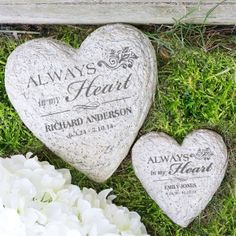 These personalized garden stones make perfect memorial gifts for those who have recently experienced a loss. Our heart shaped personalized garden stones will ensure that your loved one always has a unique place in your home. Shop now. Memorial Garden Stones, Memorial Flowers, Funeral Spray Flowers, Large Garden Stones, Personalized Garden Stones, Stone In Love, Personalized Memorial Gifts, Remembrance Gifts, Sympathy Gifts