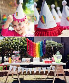Tons of ideas for a vintage hot air balloon - rainbow colored birthday party