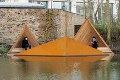 14 Spectacular Examples of Floating Architecture | Viewpoint Pavilion, a floating platform where visitors can observe nature directly from Regent's Canal. Architectural Digest