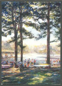 1996 Olympic rowing venue, Lake Lanier, Ga. Painting by John Gable http://www.discoverlakelanier.com