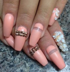 Pastel coral peach floral gold studded nails with white flowers