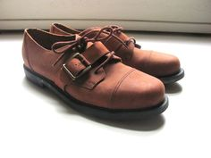 vintage brown leather lace up oxfords with by dirtybirdiesvintage, $34.00